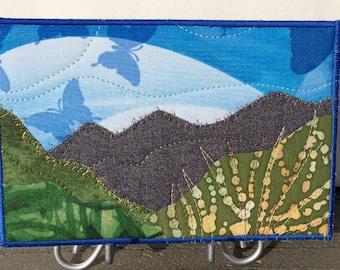 Landscape Art - Mountain Landscape - Fiber Art - Outdoor Landscape - Home Decor - Fabric Postcard - Wall Art - Hostess Gift - Mom Gift