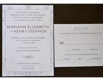 Marble Wedding Invitation - Modern and Elegant Modern Pattern in Black and Gray