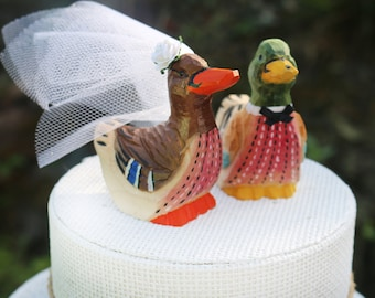 Duck Wedding Cake Topper:  Handcarved, hand painted Wooden Bride and Groom Mallard Cake Topper