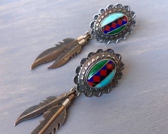 Vintage Sterling Zuni Earrings Inlay Southwestern Concho Feathers Feather Dangle earrings turquoise malachite Fine Jewelry Gift for Her