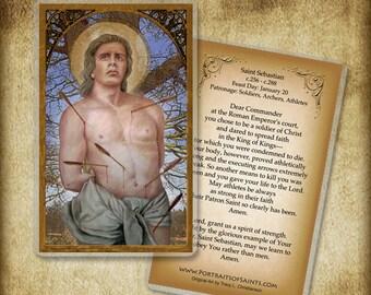St. Sebastian Holy Card or Wood Magnet  #0166