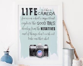 Life is like a camera print - camera art print - inspirational quote print - typography wall art - motivational poster - motivational quotes