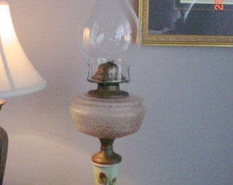 Vintage Kerosene Lamp Painted Porcelain Glass Font