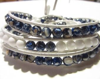 Beaded Bracelet Leather wrap bracelet  Layered Bracelet Blue Stone Bracelet Country Western Bracelet Boho Bracelet