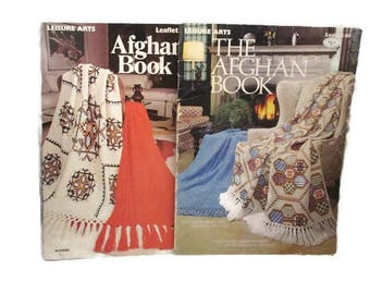 Leisure Arts The Afghan Book 63 and 102 Both Leaflets and One Free