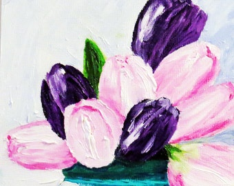 Tulips Original Oil Painting Pink Purple Turquoise Vase-Oil 6x6 -Canvas-Home Decor-Gift-Wedding Gift-Floral-Spring-Affordable-Tulip-Floral
