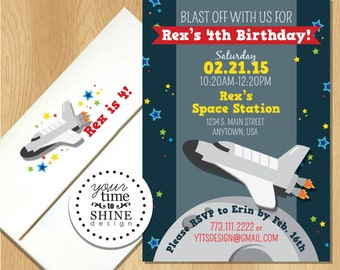 Space Invitations - with Custom Printed Envelopes