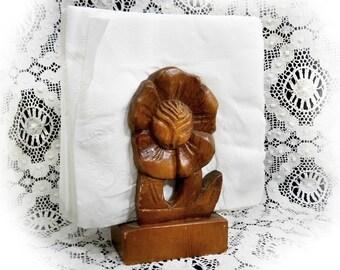 Wood napkin holder -wood carved letter holder - Floral napkin holder - Thai wood carving ,Table Decor napkin holder - Desk decor - # 66