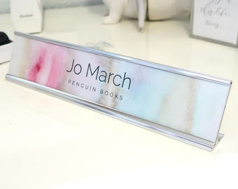 """Custom Watercolor Nameplate """"Jo"""" - Personalized Desk Name Plate Sign Decor - Office Accessories - Colorful Office Decoration - Cute Cubicle"""