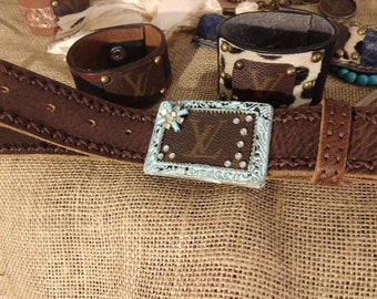 LV country chic upcycled belt buckle.