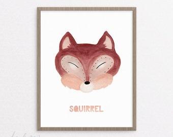 Squirrel Nursery Print - Squirrel Print - Nursery Art - Printable - Kids Squirrel Art - Baby Gift - Instant Download 8x10