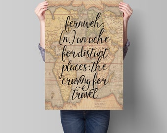 World Map Print, Travel Quote, Motivational Wall, Map Art, World Map Poster, Fernweh, Vintage Map Print, Wanderlust Poster, Travel Quotes