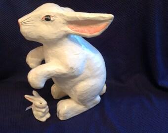 Vintage Large Easter Bunny White  Rabbit Paper Mache