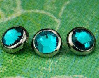 10 Blue Zircon Crystal Hair Snaps - Round Silver Rim Edition -- Made with Swarovski Crystal Element Rhinestones