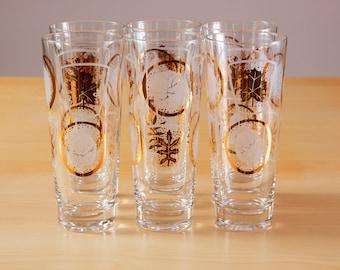 6 Vintage mid-century gold and leaf pattern Collins glasses