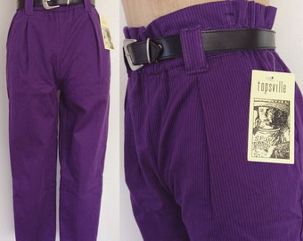 1990's Purple Deadstock Striped Trousers Vintage Paer Bag Top Vintage Pants Size XS by Maeberry Vintage