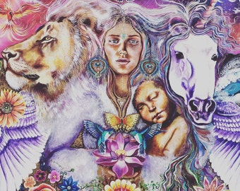 Hand painted wood print original unicorn rising pheonix lion stat sun moon goddess