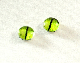 6mm Lime Green Dragon Eye Glass Cabochons - Tiny Glass Eyes for Doll or Jewelry Making - Set of 2