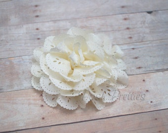 Ivory Eyelet Lace Flower Hair Clip - Lace Flower -