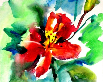 Red abstract flower Red abstract floral Red watercolor flower Red watercolor art Red painting flower Red flower original PaintingOnlineStore