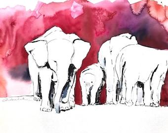 aquarelle originale - les éléphants