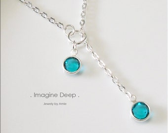 30%off SPECIAL Turquoise Aqua Blue Lariat Necklace Y Necklace Silver Plated Blue Topaz-Like Swarovski Crystal Necklace