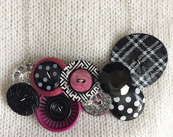 Button Necklace - Plaid Polka