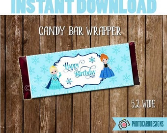 Frozen Candy Bar Wrapper, Frozen Party Favor, Frozen Party Printable, Birthday Printable, Birthday Tag, Tag, PDF, Treat Bag, Bag Topper