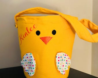 Easter Basket Bucket Tote Personalized Fabric Monogram