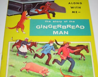 Vintage (1963) The Gingerbread Man - Read Along with Me See and Say Storybook - Rebus Style
