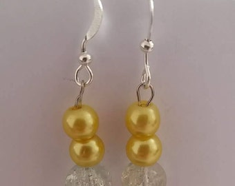 Yellow and clear beaded fish hook earrimgs