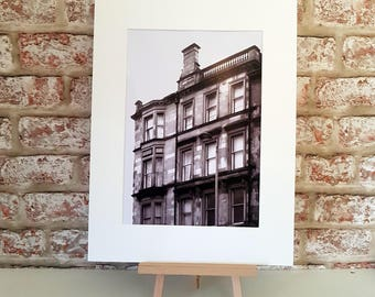 Glasgow tenements print ,Tenement art, iconic Glasgow Architecture, Mounted Print A5 A4 A3