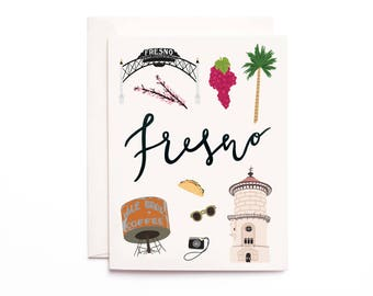 Illustrated Fresno Greeting Card