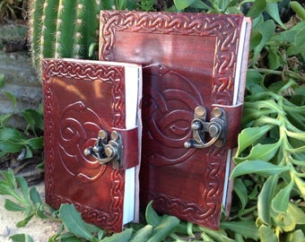 Leather Journal - Auryn Notebook - Rustic Journal - Handmade Embossed Journal -  Leather Travel Book - Leather Sketchbook - Medieval journal