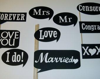 DIY Bride and Groom Photo Booth Prop Set, marriage,weddings #10 pieces (2060D)