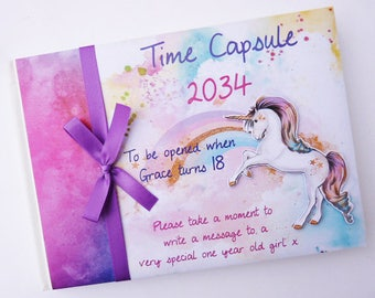 Personalised Unicorn Baby Shower/Birthday/Time capsule Guest Book