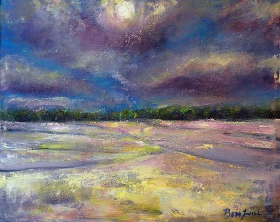 Original Painting Minimalist Abstract Art 20x16 Ultraviolet Purple by BenWill