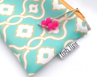 Aqua Recycled Canvas Zipper Pouch, Designer Clutch + Glass Bead Tassel, Handmade Bridesmaid Gift, Sustainably Printed, Turquoise + Orange