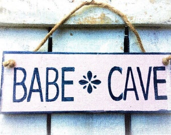 Babe Cave. Gift for Her Beach Sign Beach Lovers Gift Beach House Sign Teen Girl Boho Sign Beach Art Outdoor Beach Wooden Sign Hippie Sign.