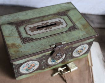 French Vintage Chocolate Tin Box - Chocolat Box - - Made in France - Rusty Metal Box - Collectible - Storage