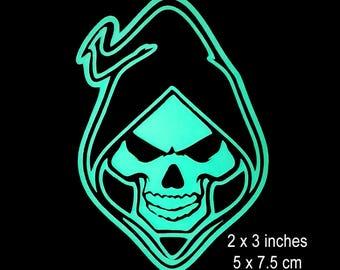 Hooded Grim Reaper Skull -  Glow in the Dark Decal / Sticker