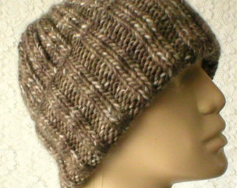 Taupe brown watch cap, beanie hat, ribbed hat, knit hat, toque, brown hat, mens womens hat, brown knit hat, brown striped hat, chemo cap