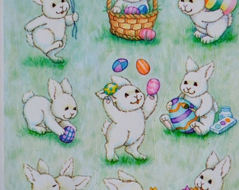 Vintage Easter Stickers - White Bunny Rabbits and Eggs - A Sheet of 9