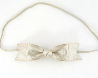 Light gold baby headband, metallic bow headband, infant headband, girls headband, baby headband, ribbon bow, newborn headbands, cute classic