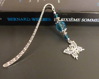 Silver Blue bookmark and a metal Butterfly silver