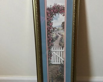 "Glynda Turley Framed Matted Art Work Print Floral Pathway* White Picket Fence* Scenery* 1989**26"" T X 8"" W"