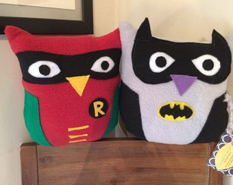Dynamic Duo Owl Plushies- set of 2 owls- Inspired by Batman and Robin