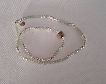 Bracelet beads silver plated almond double rounds bead Central swaroski