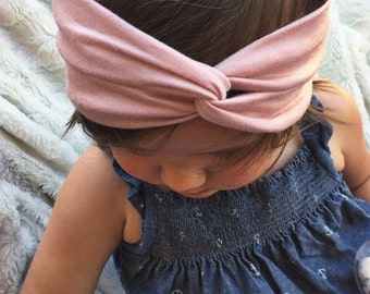 Cool Blush - newborn baby turban headband, light pink headwrap