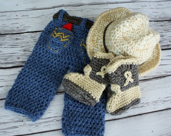 Baby Cowboy Hat , Pants and Boots Set - Baby Hat, Jeans and Boots Set - Western Wrangler Photo Prop - by JoJo's Bootique